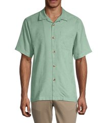 tommy bahama men's al fresco tropic silk shirt - granite green - size s