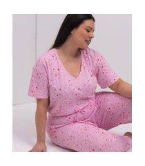 calça de pijama em algodão estampa estrelas curve & plus size   ashua curve e plus size   rosa   g