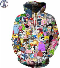 anime hoodies men/women 3d sweatshirts with hat hoody unisex anime cartoon hood