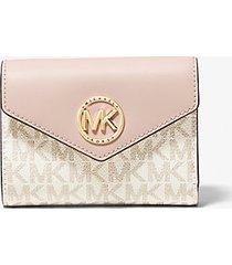 mk portafoglio a tre ante carmen medio in pelle con logo - vanilla/soft pink - michael kors