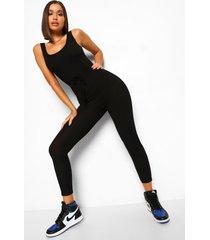 zachte geribbelde baggy jumpsuit met hemd top, black