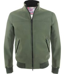 solid military green mid season jacket with red and white tartan print lining