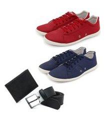 conjunto 2 sapatênis masculinos + carteira + meia algodão - azul/vermelho ro02