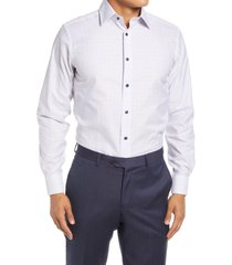 david donahue trim fit plaid dress shirt, size 18.5 - 34 in white/melon at nordstrom
