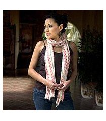 cotton scarf, 'salmon checks' (guatemala)