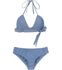 adriana degreas denim bikini set - delave