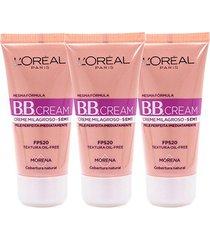 kit 3 bb cream l'oréal paris cor morena fps 20 30ml