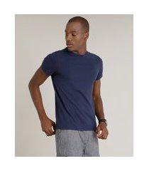 camiseta masculina básica com elastano manga curta gola careca azul marinho