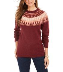 style & co fair isle crewneck sweater, created for macy's