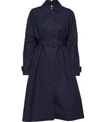 th essential sb tren trenchcoat lange jas blauw tommy hilfiger