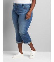 lane bryant women's signature fit boyfriend capri jean - medium wash with heart pocket 20 medium denim