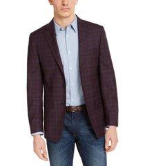 calvin klein men's slim-fit wine red/blue plaid sport coat