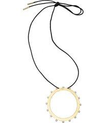 brass & mother of pearl necklace, women's, josie natori