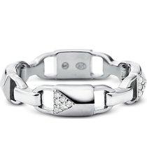michael kors designer rings, plated sterling silver pavé mercer link ring