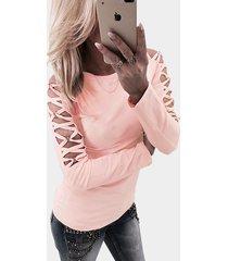 pink hollow diseño camiseta de manga larga cruzada detials