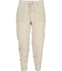 brunello cucinelli wool and mohair sparkling cable knit trousers