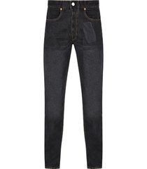pocket print straight leg jeans