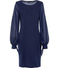 abito in maglia con maniche in georgette (blu) - bodyflirt