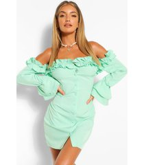 extreme ruffle bardot bodycon mini dress, sage