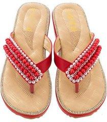 sandalias antideslizantes con punta de clip de diamantes de moda para mujer-rojo