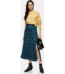 blue and green floral pleated popper midi skirt - blue