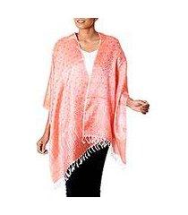 varanasi silk shawl, 'tangerine ecstasy' (india)