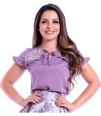 blusa miss lady crepe lilás bordado