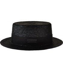 kapelusz black small brim canotier