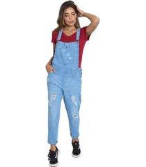 macacão le julie jardineira jeans feminino