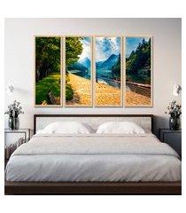 kit 4 quadro oppen house s 75x120cm alpes suíços paisagem decoração luxo para quartos salas      quadro oppen house s decorativos