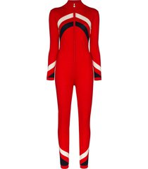 perfect moment chevron-striped zip-up jumpsuit - red