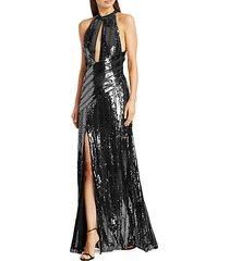 peek-a-boo sequin halter gown