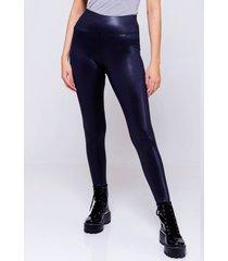 calça legging disco preta sob cintura alta em cirre