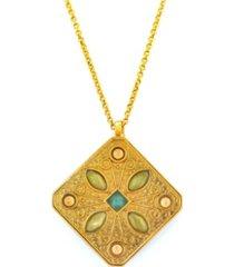 stephanie kantis countess faceted green topaz, slate blue topaz square, white quartz pendant