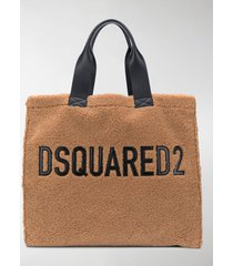 dsquared2 logo-detail faux-fur tote bag