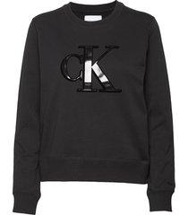 flock monogram ck regular cn sweat-shirt trui zwart calvin klein jeans