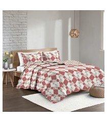colcha solteiro camesa patchwork dolce c/ porta travesseiro vermelho/bege