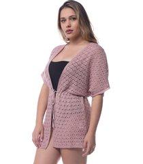 saída de praia tricô rendado kimono crochê rosa 0265