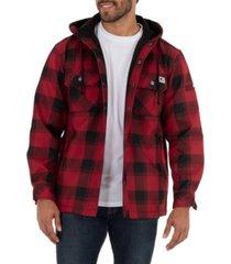 wells lamont men's yarn dye twill polar fleece flannel bonded overshirt jacket with hoodie