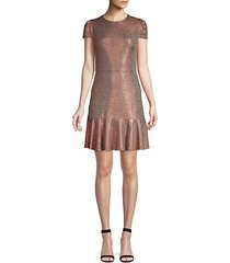 imani metallic fit-&-flare dress