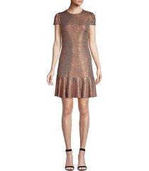 imani metallic fit-&-flare dress