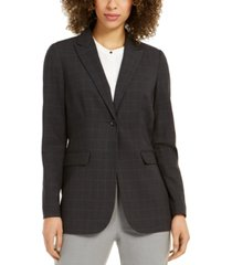 calvin klein petite windowpane plaid blazer