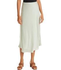 nordstrom signature bias cut stretch silk skirt, size 16 in green desert at nordstrom