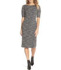 women's maggy london textured arc sheath dress, size 4 - black