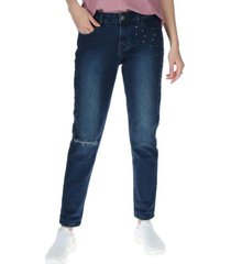 jeans mujer studded slim azul oscuro