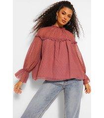 geweven dobby blouse met lange mouwen, rose