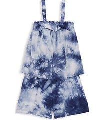 little girl's tie-dye top & shorts 2-piece set