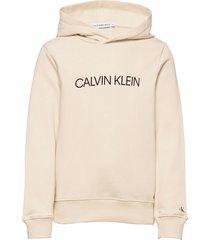 institutional logo hoodie hoodie trui crème calvin klein