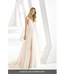 women's rosa clara donata front slit lace & tulle wedding gown, size - pink