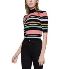 bcbgeneration striped puff-shoulder sweater